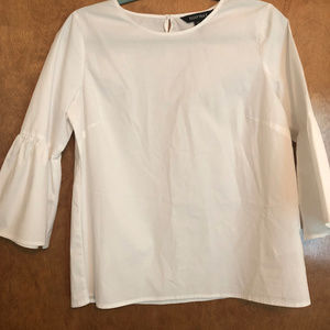 Ellen Tracy White Bell Sleeve Blouse
